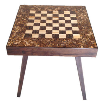 Groovystuff Jigsaw Chess Table in Chocolate Lacquer