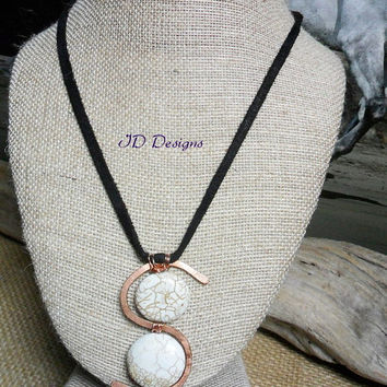 Hand Hammered Copper S shape White Howlite Stone Pendent Black Leather Necklace