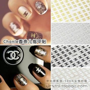 Chanel inspired nail decals logo stickers applique manicure pedi