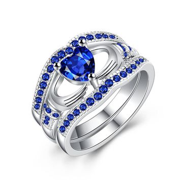 YANGQI Three-in-one Blue Heart Zircon Ring for Women Wedding Party Engagement Rings Female Love Heart Ring Girls Jewelry Gifts