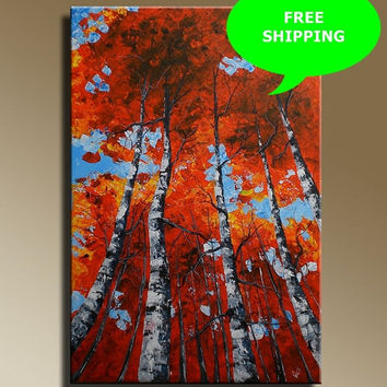 ON SALE Original Abstract Painting birch trees in a red forest on canvas Wall hanging  Ready to hang