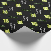 Yellow Green Sweet 16 Personalized Wrapping Paper