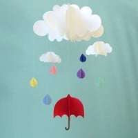 Red Umbrella and Raindrops Hanging Baby Mobile/3D by goshandgolly