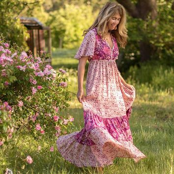 Boho Chic Summer Vintage Floral Print Ruffle Long Dress 2018 Fashion Kimono Sleeves Lace Up Pleated Beach Dresses Vestidos Mujer