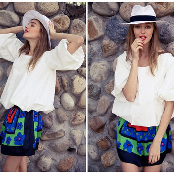 white blouse,half puff sleeve,baby doll shirt,casual,unique,fashion,chic,mod,for summer.--E0285