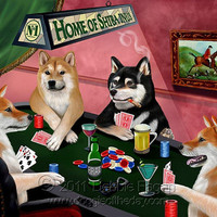 Home of Shiba Inus 4 Dogs Playing Poker Art Portrait Print Throw Blanket