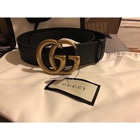 "GUCCI Leather Belt BLACK Size 75 1.5"" women 100% Authentic Double G NEW classic"