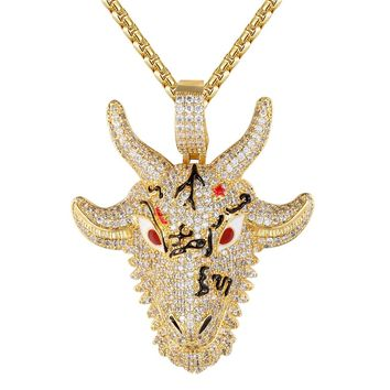 Men's Iced Out Animal Goat Face Rapper Enamel Pendant Necklace