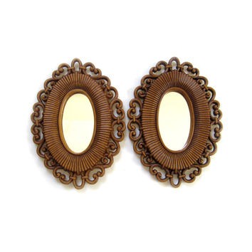 Vintage Dart Homco Syroco Pair of Matching Mirrors Wicker Frames 1978