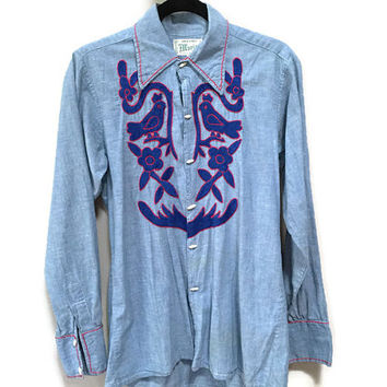 Embroidered Mexican Blouse, Blue Vintage Denim Shirt, Vintage Embroidered Blouse, Blue Birds Vintage Blouse, Vintage Mexico Artisan Shirt M