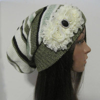 Multi Colored Striped Recycled Sweater Slouch Beanie With Ivory Chiffon Flowers and Rhinestone Accent Winter Hats Sweater Hats Accessories