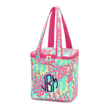 Monogrammed Insulated Cooler Tote Bag Reef Monogram Lunch Bag Picnic Personalized Cooler