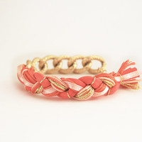 Coral bracelet with chunky chain, boho braid bracelet, jersey bracelet, cotton bracelet