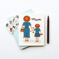 Mom from Daughter Card birthday mothers day just because I love you stationery retro inspired illustration red blue white cute sweet chic