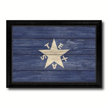 Texas History Lorenzo De Zavala Military Flag Texture Canvas Print with Black Picture Frame Gift Ideas Home Decor Wall Art