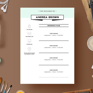 Resume Template + Cover letter + Reference page // Instant Download // Creative // Microsoft Word // Elegant // Minimalistic