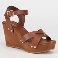 City Classified Klaris Womens Wedges Dark Tan  In Sizes