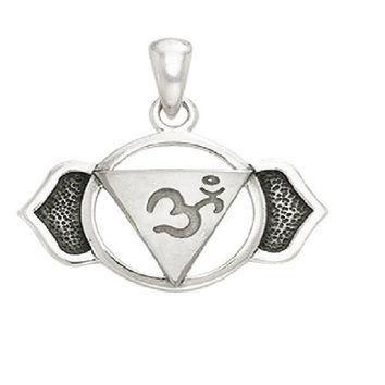 Silver Plated Ajna Brow Third Eye White Bronze Sixth Chakra Healing Cleansing Inner Peace And Yoga Spirituality Positive energy channels Symbol Buddhism Buddha Spiritual Body Pendant Necklace With A 18'' Silver-Finished Brass Cable Chain