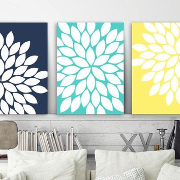 Navy Aqua Yellow WALL ART, Flower Wall Art, Floral Bedroom Pictures, CANVAS or Prints, Floral Bathroom Decor, Set of 3, Flower Wall Decor