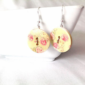 Floral button dangle earrings custom made wedding gift woman party