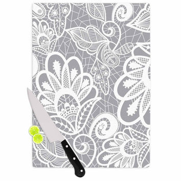 """Petit Griffin """"Lace Flower"""" Gray White Cutting Board"""