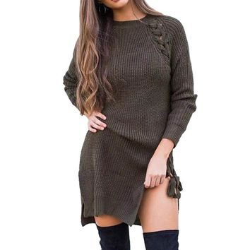 Fall O Neck Long Sleeve Side Lace-up Split Hem Long Sweater