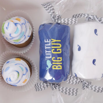 Unique Baby Boy Gift Washcloth Cupcakes Gift Set size 6 month whale print