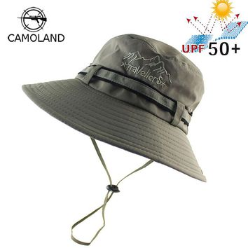 2018 UPF 50+ Summer Sun Hat Bucket Men Women Boonie Hat Outdoor UV Protection Long Wide Brim Army Hiking Fishing Breathable Mesh