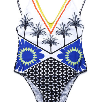 Tropical Coconut Palm One-piece Swimsuit