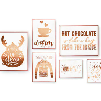 SET of 6 Prints, Holly Jolly, Oh Dear Print, Real Gold Foil, Home Decor, Holiday Sign, Chrismtas Gift, Xmas Set, Sweater Weather, Xmas Art