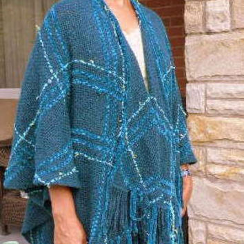 Custom Handwoven Ruana, Women's Fashion Wrap, Cloak, Mantel, Fall, Spring, Summer
