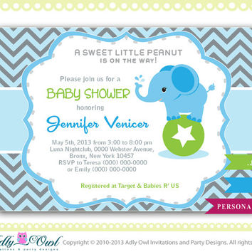 Boy Elephant Invitation, Blue Boy Chevron Card for a boy Elephant baby shower. Elephant on ball green, blue,grey, star-oz01