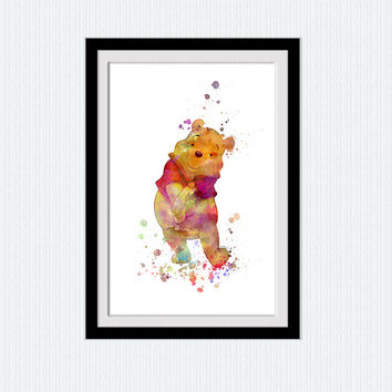 Winnie the Pooh watercolor print Winnie the Pooh colorful poster Home decoration Kids room decor Nursery wall art print Christmas gift  W333