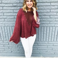 Berkley Bell Sleeve - Berry