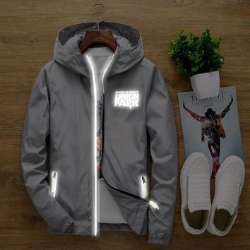 S to 7XL plus size linkin park men women anti-wind hoodie sweatshirt light-reflective tracksuit zipper jacket coat