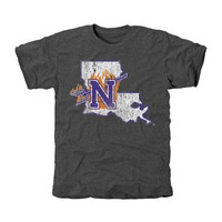 Northwestern State Demons Distressed Primary Tri-Blend T-Shirt - Charcoal