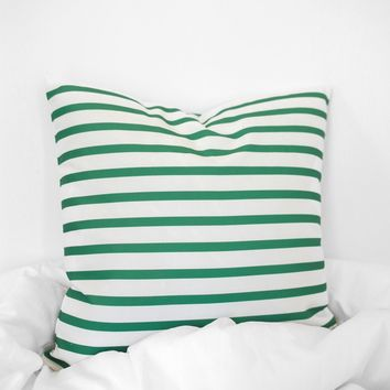 Striped Printed Pillow Case - Green