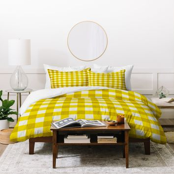 Holli Zollinger Yellow Gingham Duvet Cover