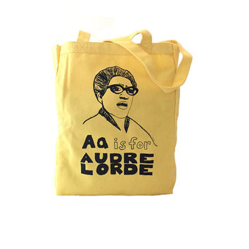 Audre Lorde Tote Bag: Feminist Alphabet A is for Audre Lorde Screenprint Tote
