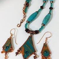 Egypt in Turquoise and copper with dangles