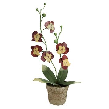 "14"" Artificial Crimson Red & Deep Banana Yellow Decorative Orchids in Pot"