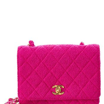 Chanel Chanel Pink Quilted Tweed Small Flap Bag | Bluefly.Com