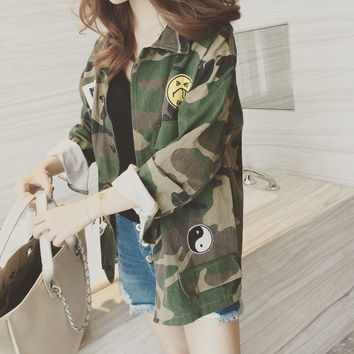 Fashion Camouflage Military Jacket Women Denim Camo Jackets jaqueta feminina Army Green Coats