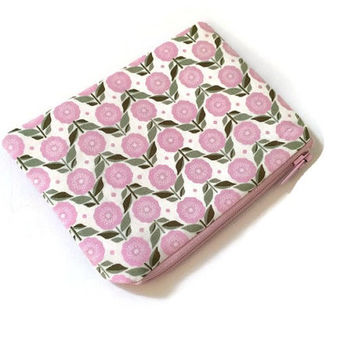 Cute Floral Zip Pouch - Pink Fowers - Kids Zip Wallet - Small Cosmetic Case - Coin Purse - Kawaii Purse - Girls Accessory - Makeup Bag