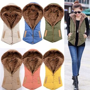 Women Winter Fleece Vest Sleeveless Coat Hooded Jacket