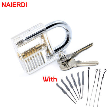 NAIERDI Transparent Visible Pick Cutaway Practice Padlock With Broken Key Removing Hooks Lock Kit Extractor Set Locksmith Tool
