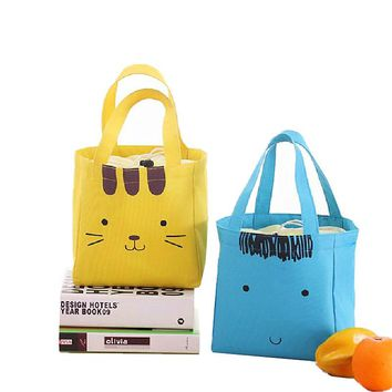 Canvas Cut Lunch Bags Cat Kid's Student's Office Worker's Storage Pouch Food Fruit Drink Insulation/Ice Cooler Handbag Products