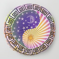 Vintage Sun Moon & Stars Yin & Yang Floor Pillow by inspiredimages