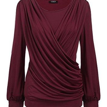 Zeagoo Womens Round Neck Stretchy Drape Front Tunic Blouse