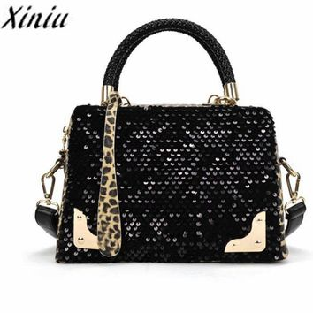 Women Sequin Leopard Printed Tote Shoulder Bag